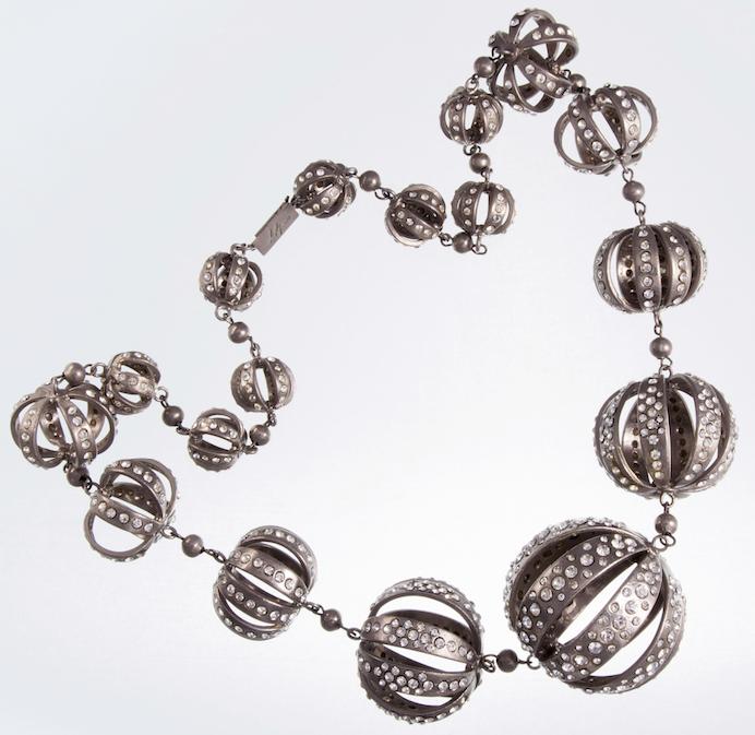Gianni De Liguoro, collana per Renato Balestra, metallo argentato, Crystals from Swarovski, P/E '86