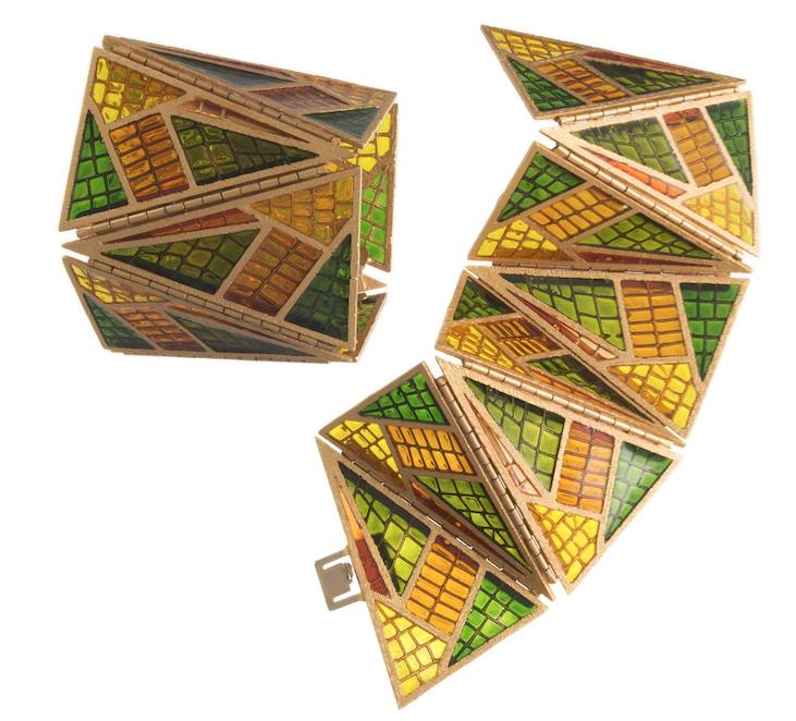 De Liguoro per Fausto Sarli. bracciali, smalto effetto cattedrale su metallo dorato, anni Ottanta
