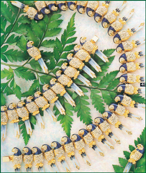 Carlo Zini: collana, orecchini e bracciale Pappagalli con smalti e cristalli, Ornamenta, anni Novanta